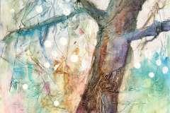 Traumbaum für James. 30 x 42 cm. Collage und Künstleraquarellfarben auf Zeichenpapier, aufgezogen auf Holzpanel. 2021. 350 €