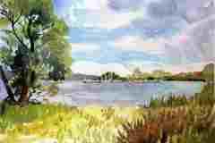 Tespe, Sommer. 21 x 29 cm, Künstleraquarellfarben auf 300 g/m² Torchon, 2017. 230 €.