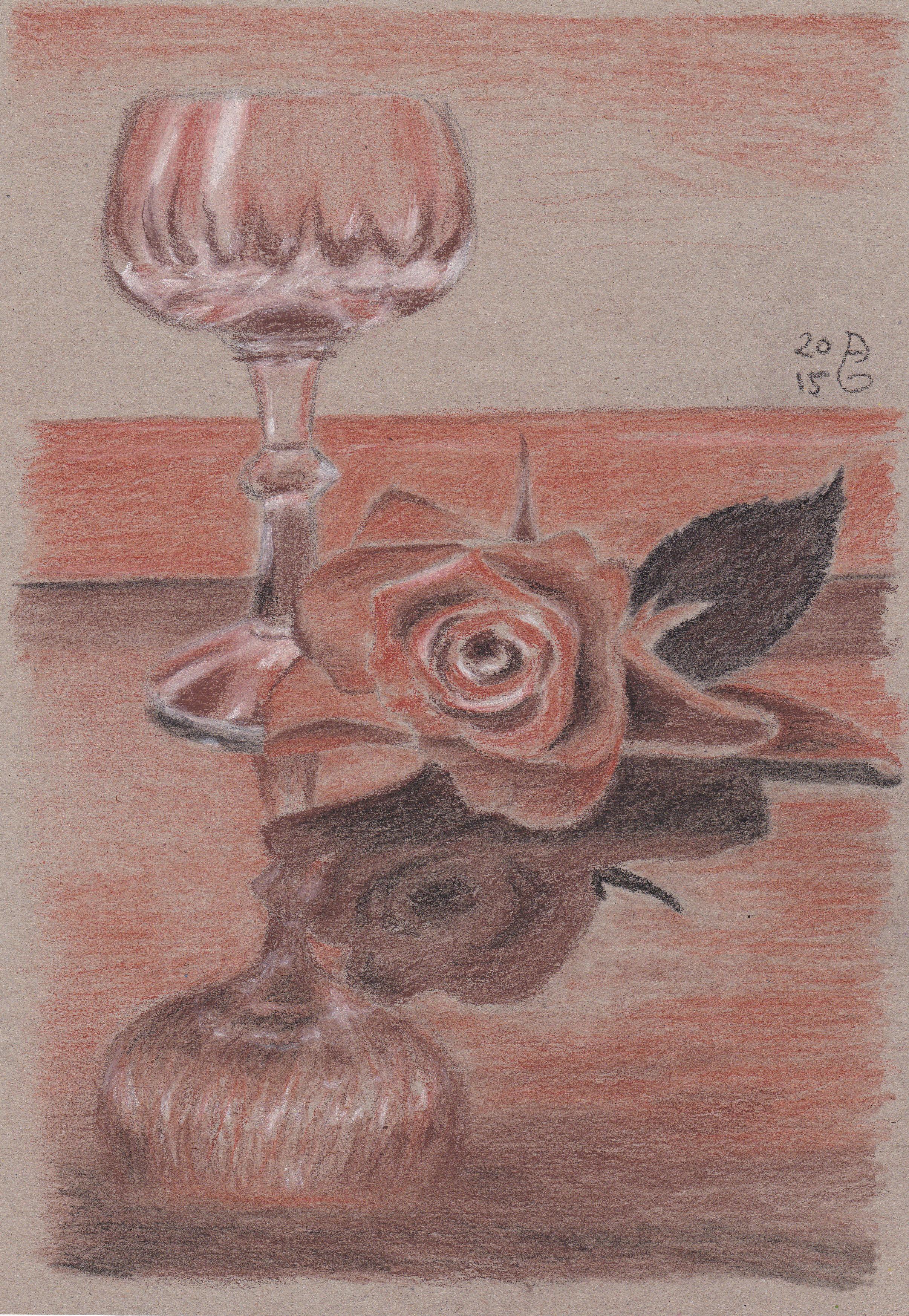 Reflektion mit Rose. Conté Zeichenkreide auf Kraftpapier. 22 x 28.