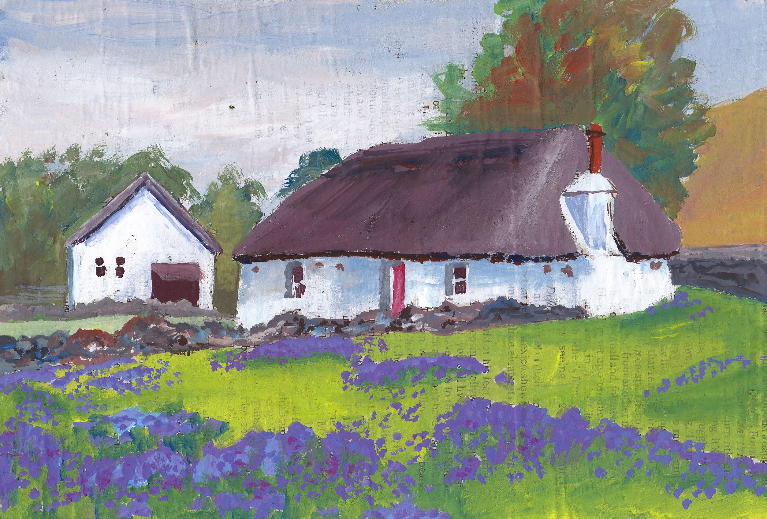Independent Cottage. 15 x 22 cm. Gouache auf Zeitung und Lakarton/ on newspaper & carton.