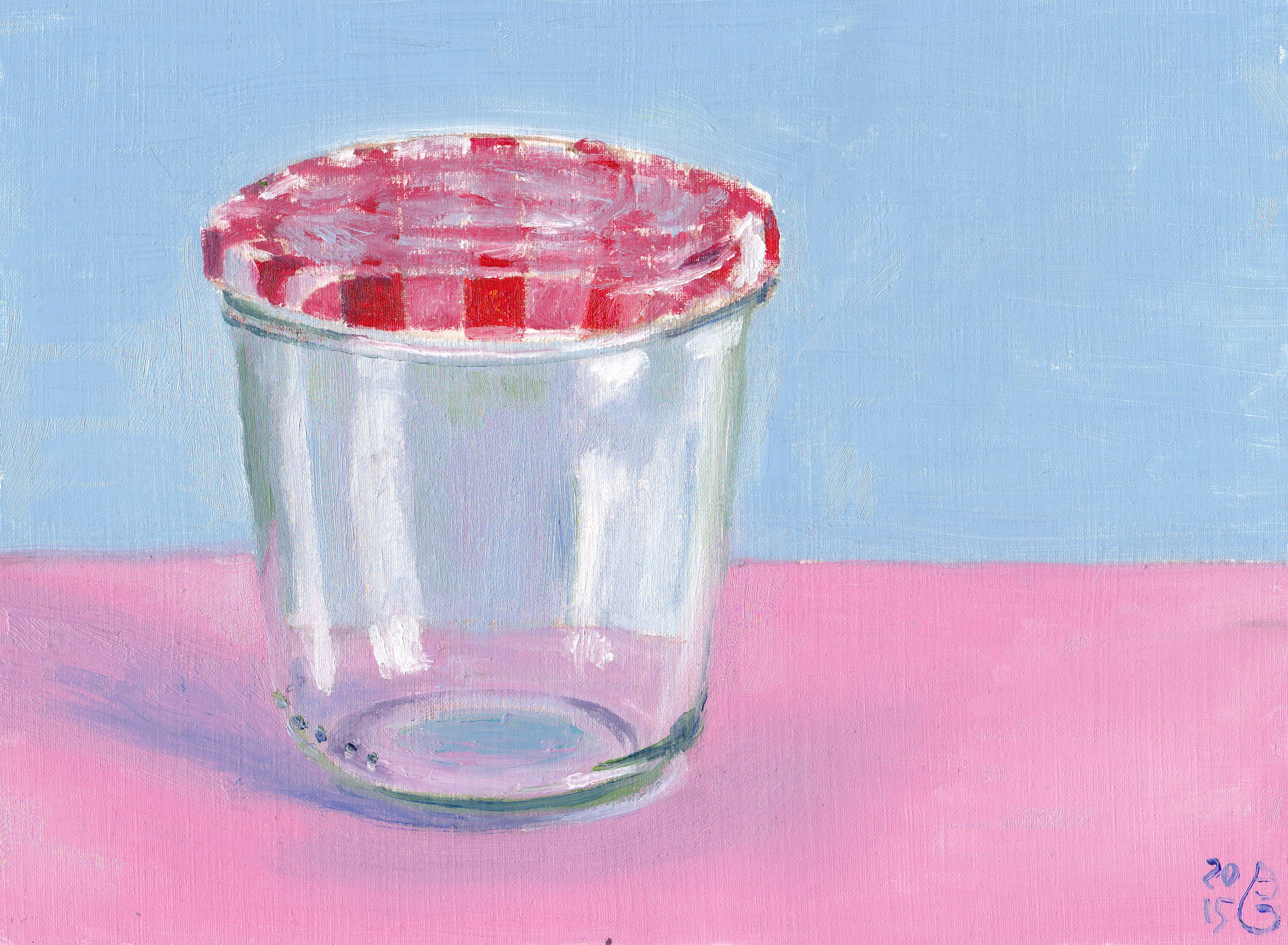 Baby-coloured jar. Öl auf Papier, 18 x 24 cm/ Oils on paper, 7 x 9.4 in.