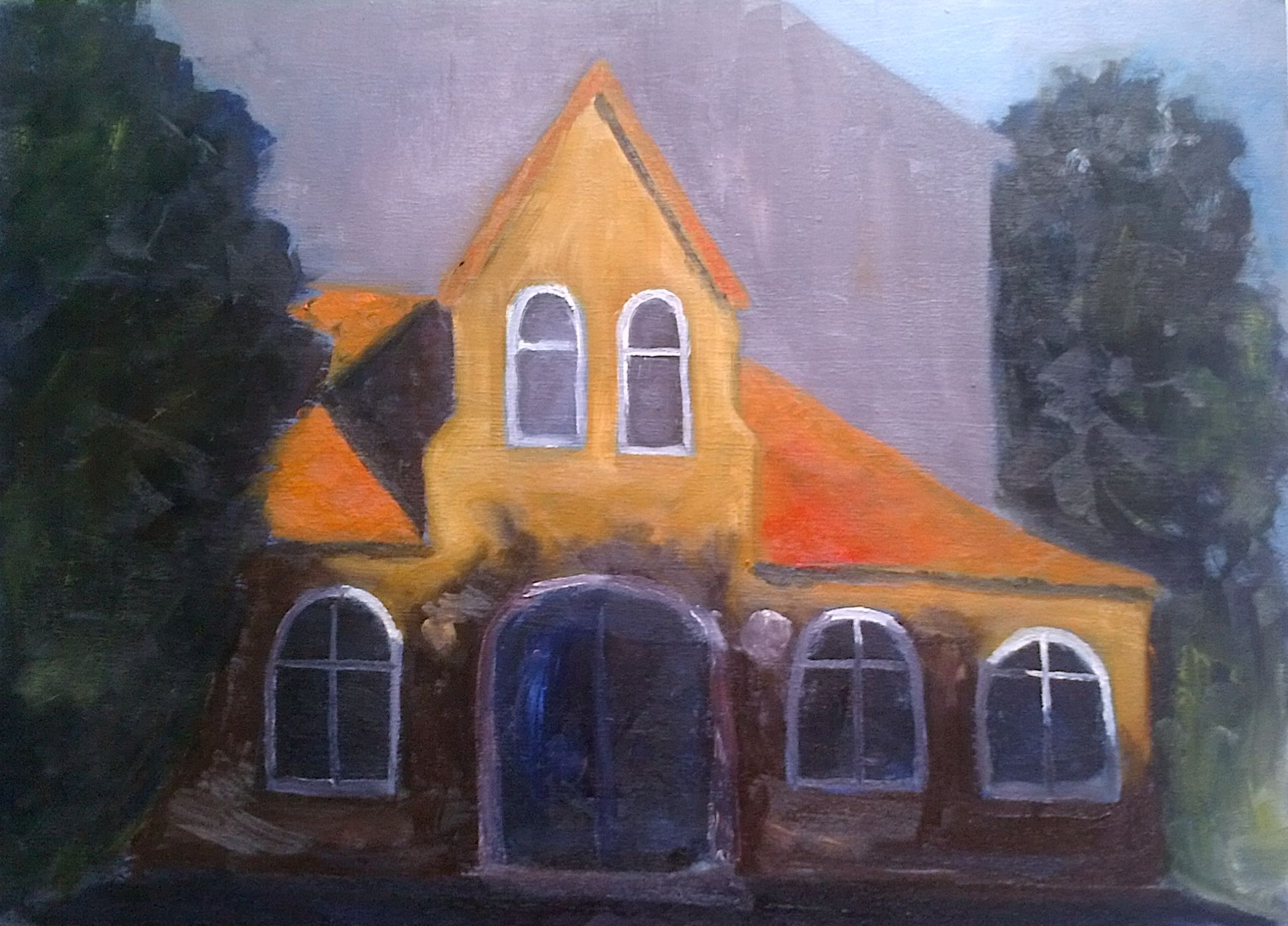 Gemeindesaal im Abendlicht/ Community hall at dusk