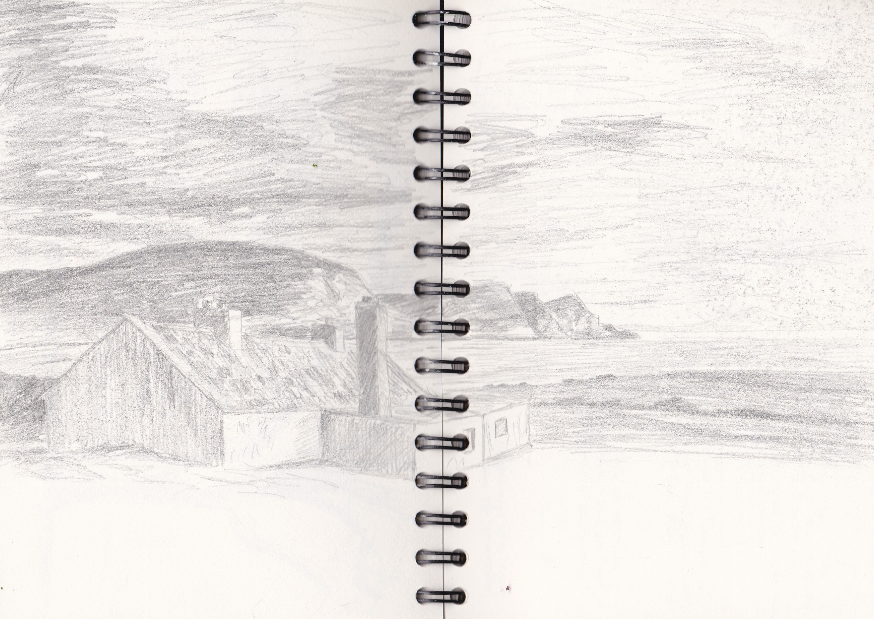 Irische See/ Irish Sea. Bleistiftskizze / pencil sketch. A4.