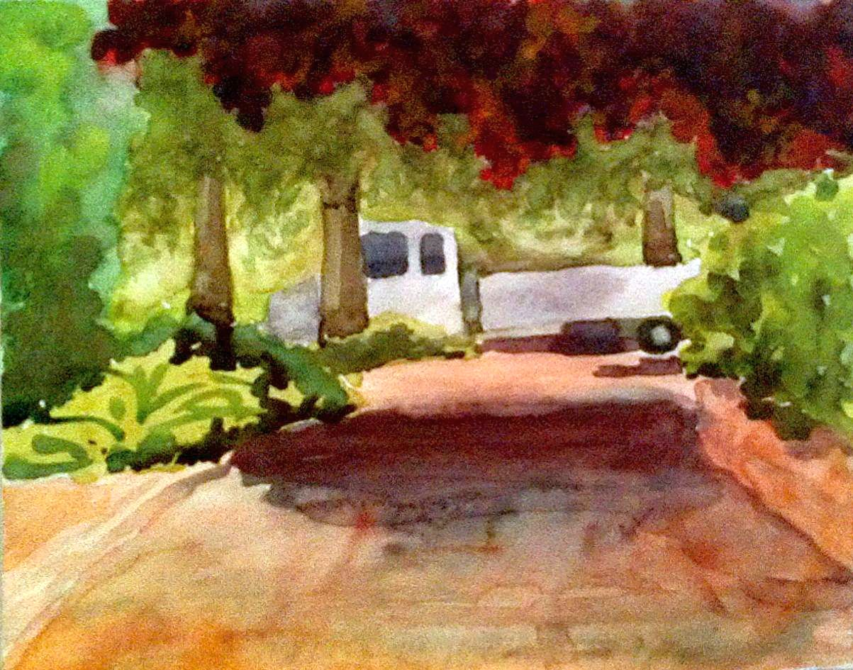 Erste Miniskizze in Aquarell/ First watercolour study