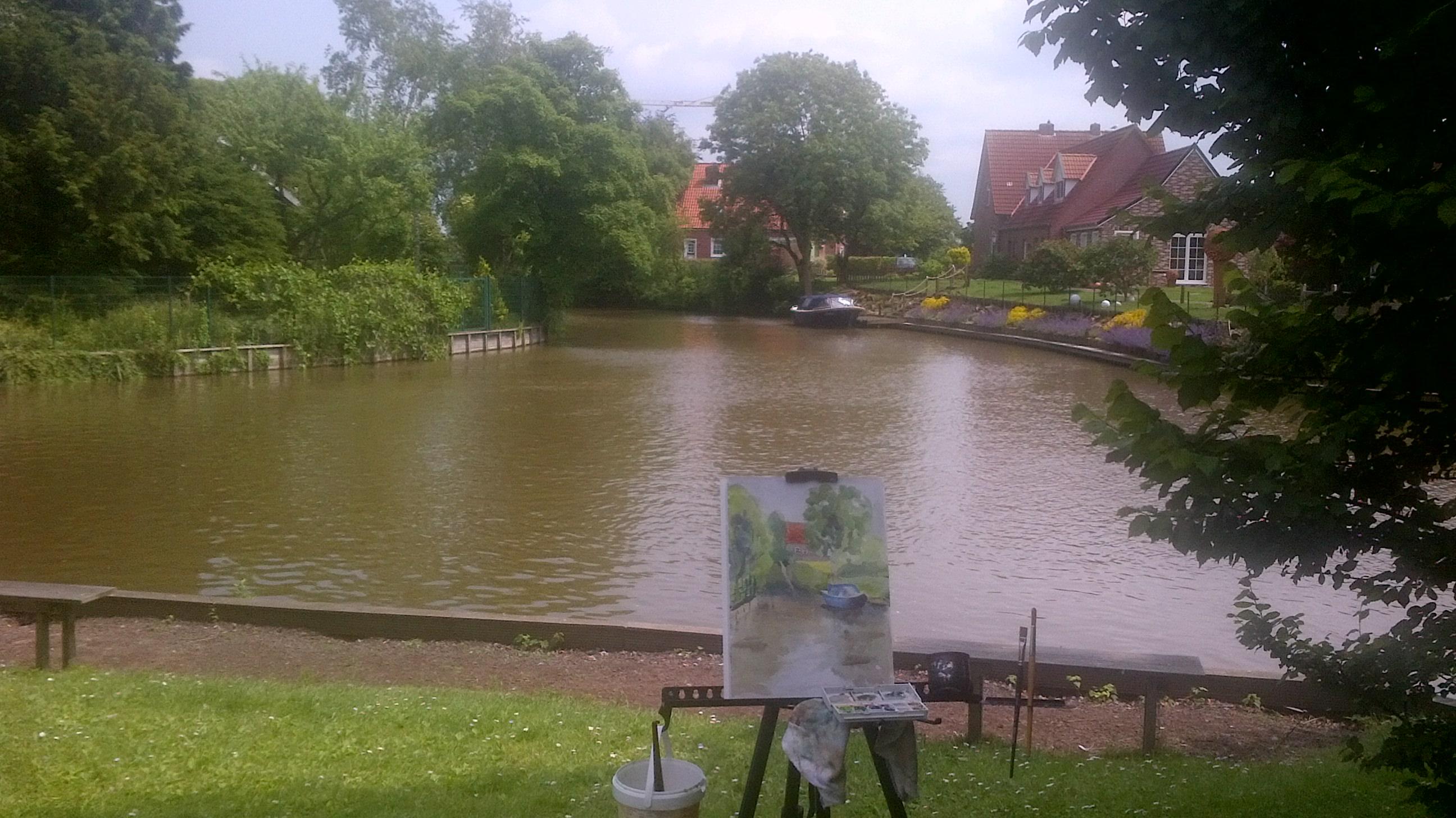 Mein erstes Mal en plein air in der Öffentlichkeit!/ My first time painting en plein air