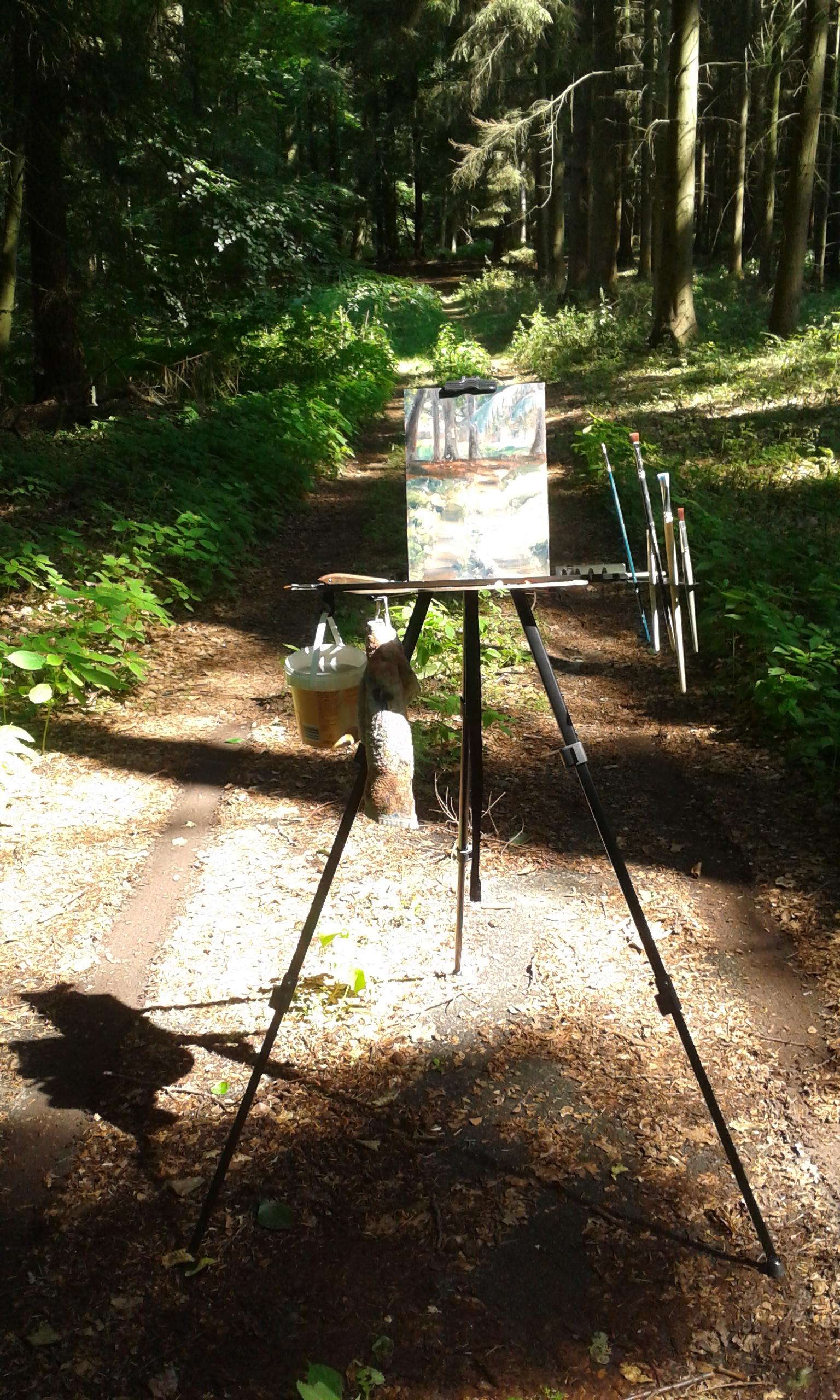 Meine Staffelei; zum Schluss stand ich nicht mehr im Schatten. My set-up. The shadow moved away from me unfortunately.