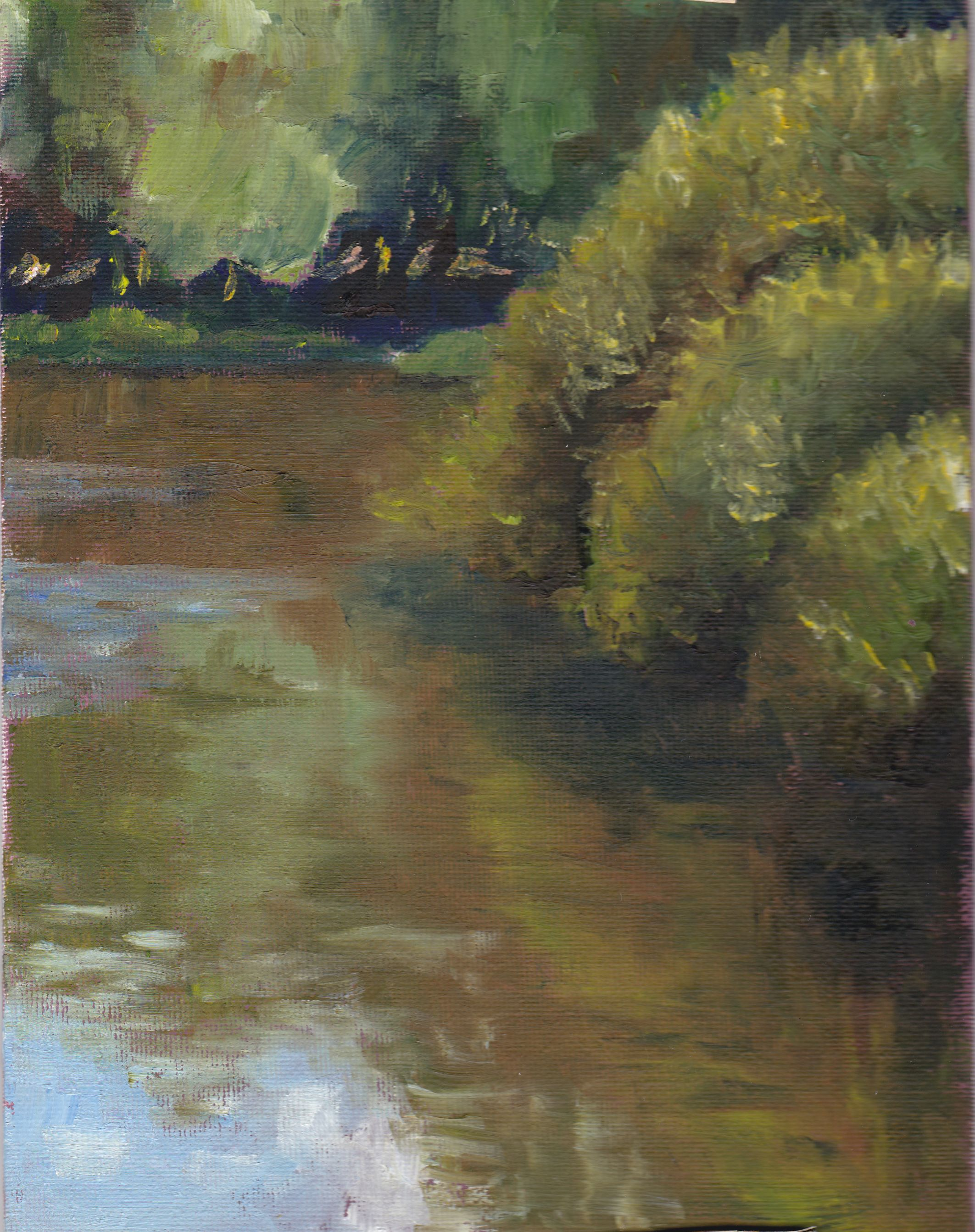 Am Fehlingsbleck. Öl auf Malpappe, 18 x 24 cm. On Fehlingsbleck lake. Oil on canvas board, 7.25'' x 9.5''.