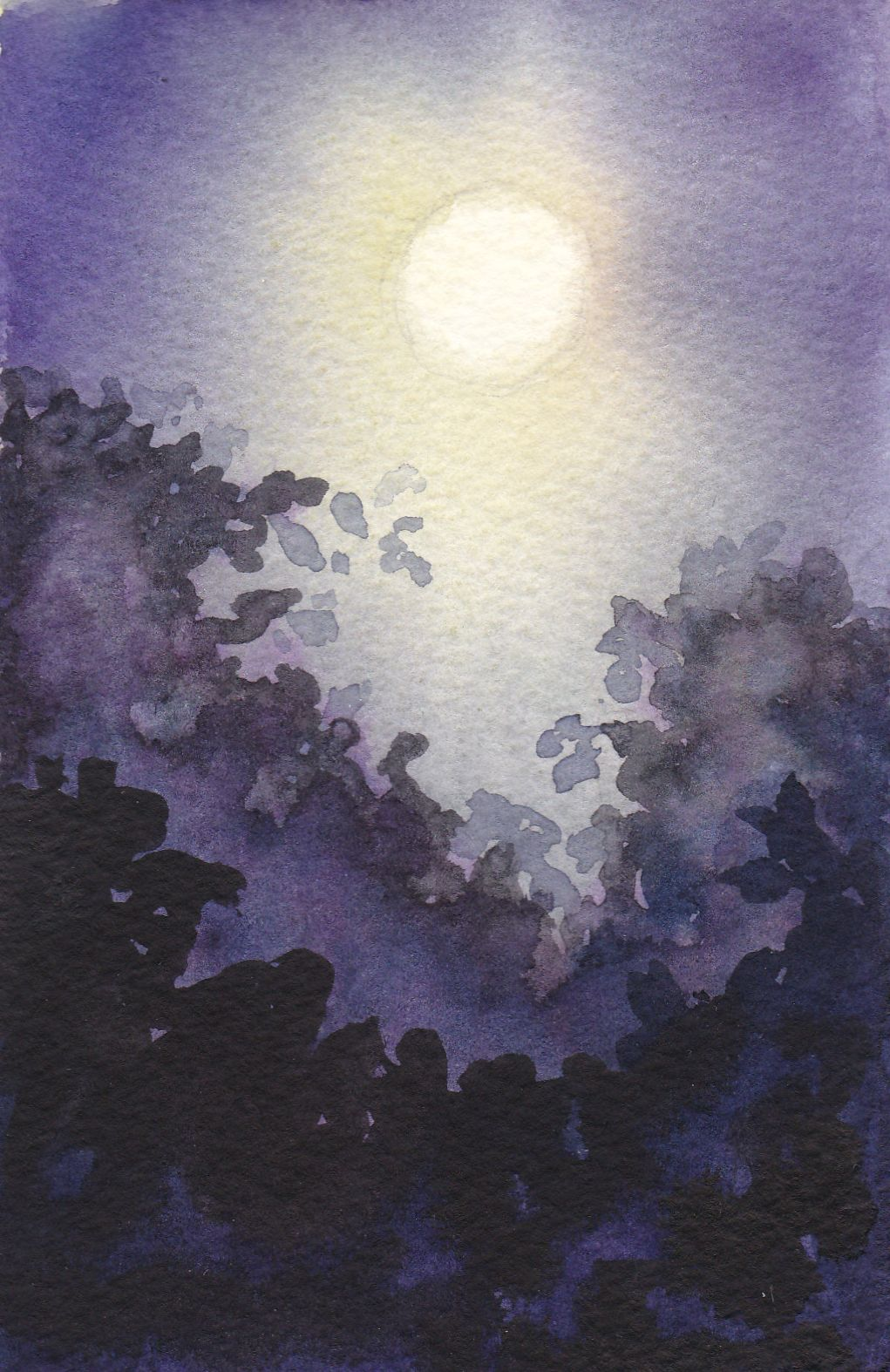 Mond bei Freunden. Aquarell, 10 x 15 cm. Moon and friends. Watercolours, 4 x 6 in.