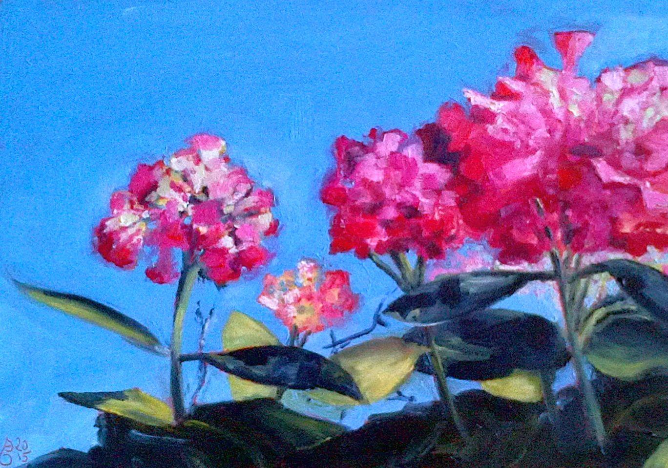 Hortensien. Öl auf Holzplatte, 30 x 21 cm. Hydrangeas. Oil on board, 11.4 x 8.3 in.