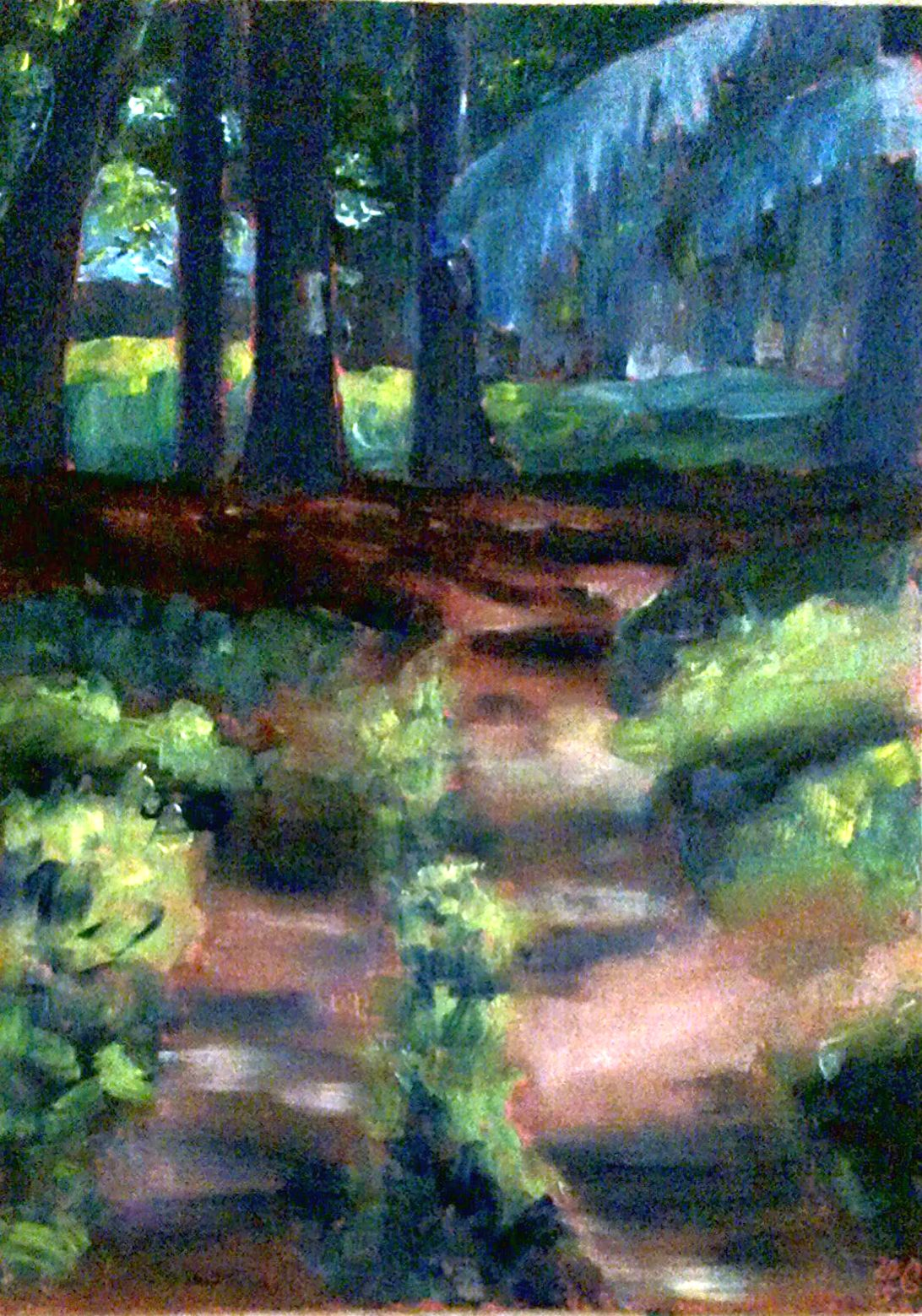"In den Wald hinein. Öl auf Holz, 30 x 20 cm. Into the forest. Oil on board, 12"" x 8""."