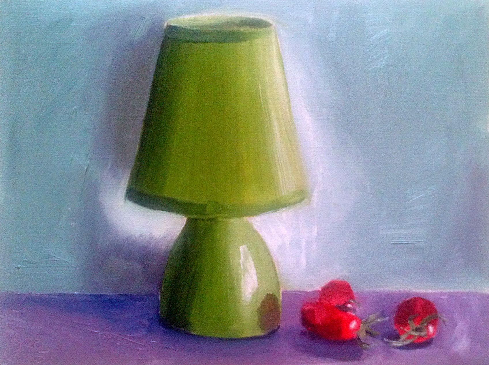 Grüne Lampe. Öl auf Papier, 18 x 24 cm. Green Lantern. Öil on paper, 7.0 x 9.4 in.