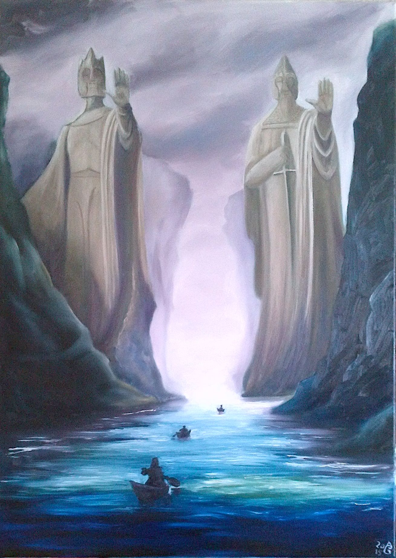 The Argonath. Öl auf Leinwand, 70 x 50 cm. The Argonath. Oils on canvas, 27.5'' x 19.7''.