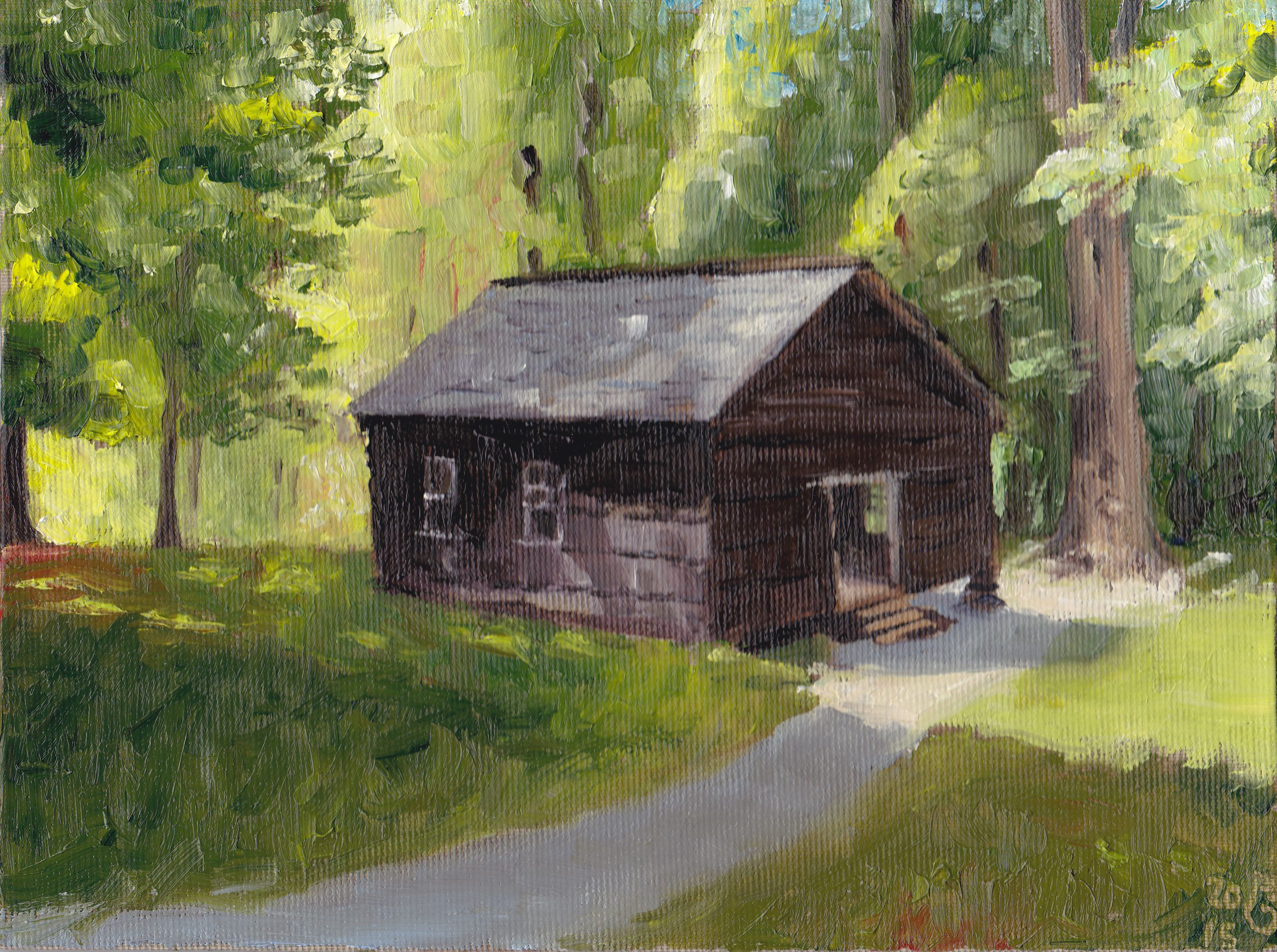 "Little Greenbrier School. Öl auf Malpappe, 18 x 24 cm. 70 €./ Oils on canvas board, 7.25"" x 9.5"". $80."