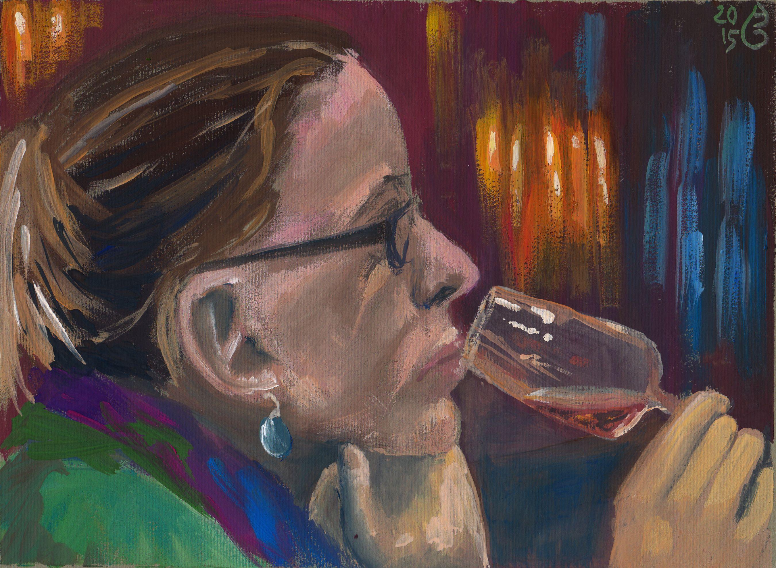 "Me drinking sherry.  Gouache aud Ingres-Papier, 24 x 19 cm, 40 € (mit Rahmen). Gouachen on paper, 9.4"" x 7.5 "", €50 (framed)."