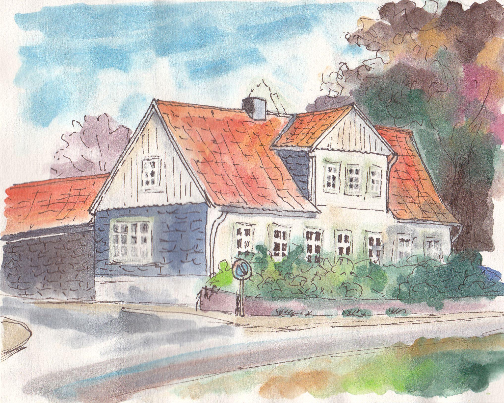 "An der Dahlenburger Landstraße, Lüneburg. Aquarell auf Zeichenpapier, 14 x 18 cm, 40 € m. R.. Watercolours on drawing paper, 5.5"" x 7.1"", $50 w/frame."