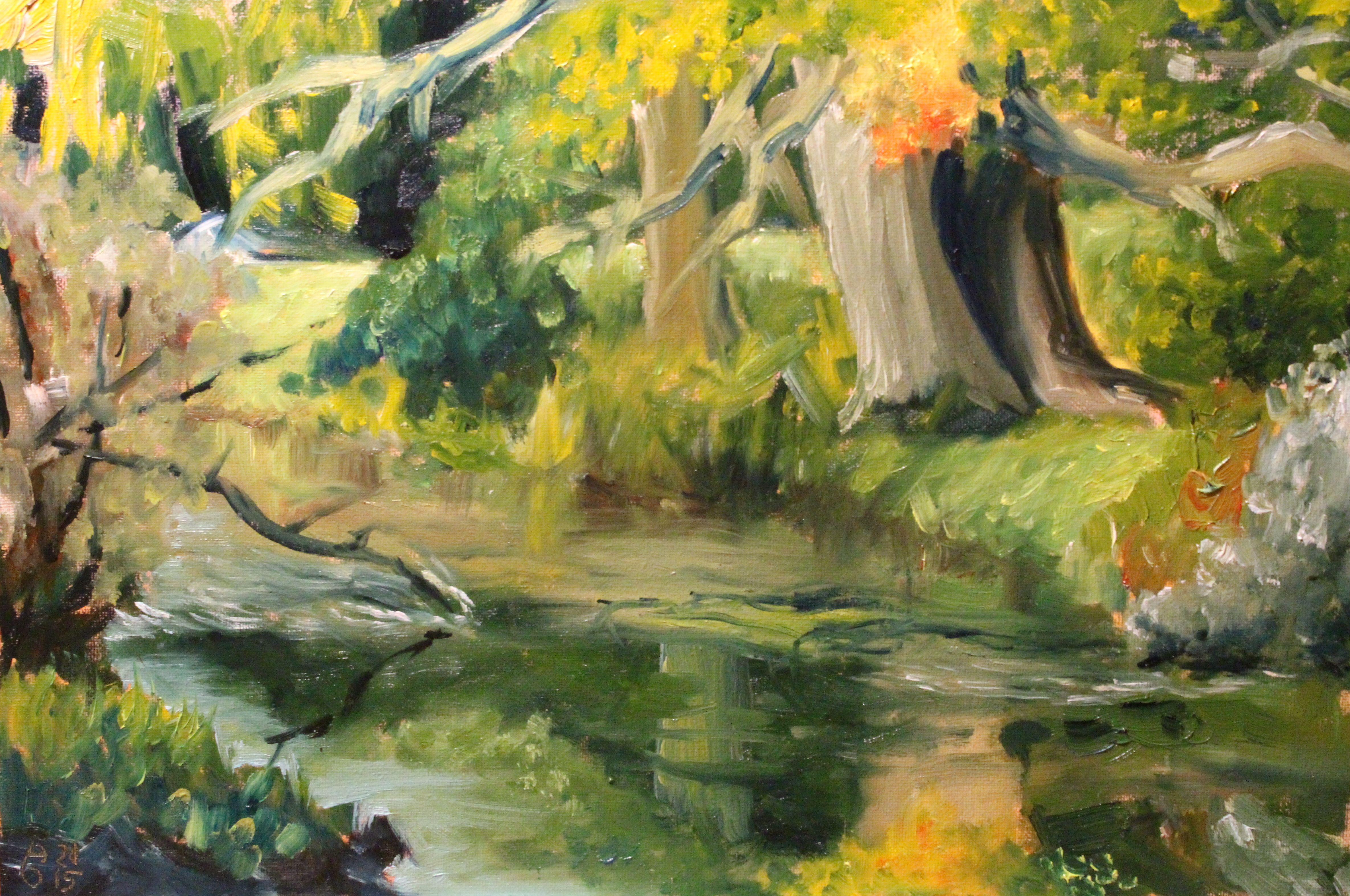 "Stromabwärts || Downstream. Öl auf MDF-Platte, 20 x 30 cm. Oil on MDF board, 7.9"" x 11.8""."