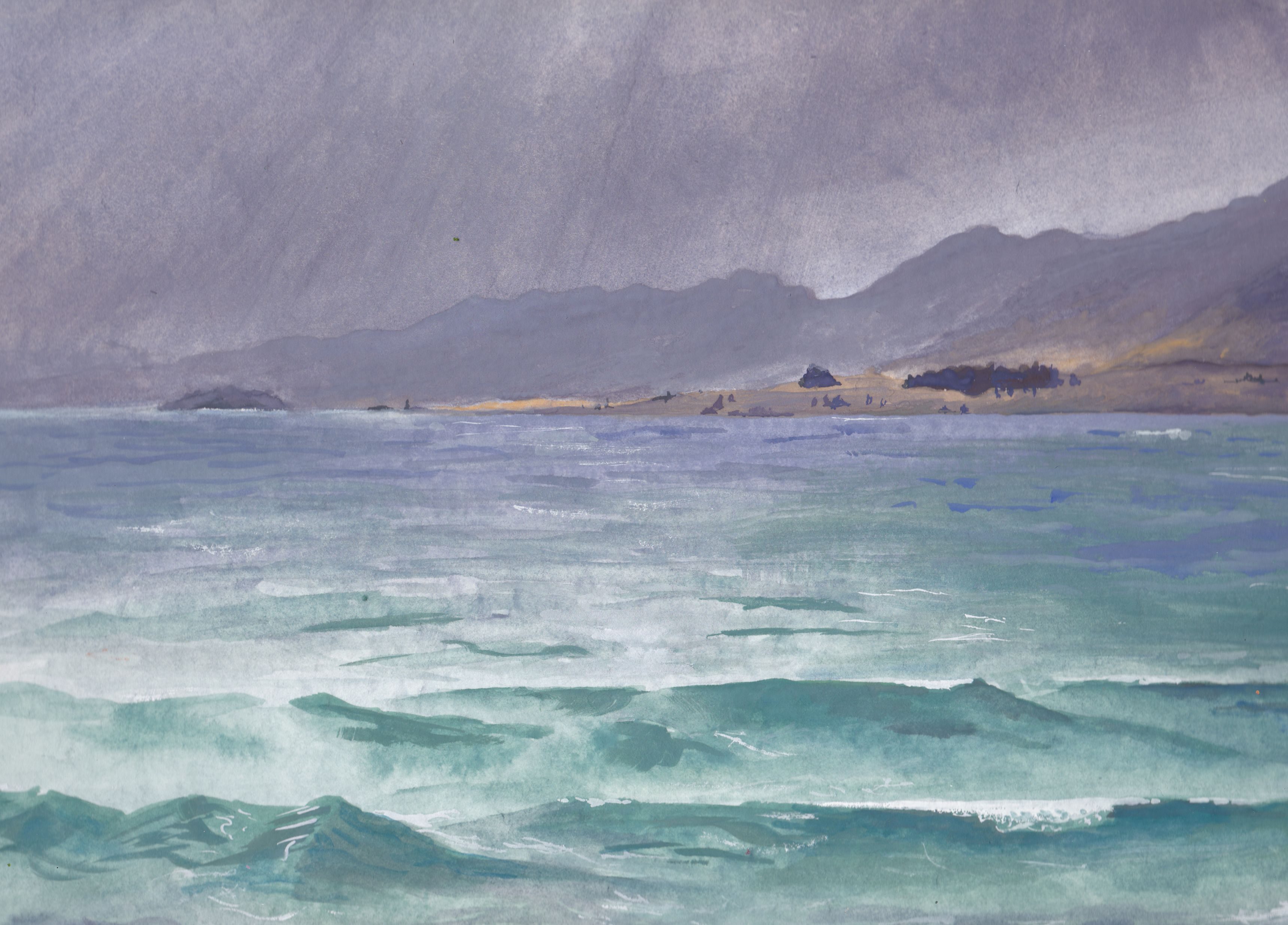 Stormy Lake Tekapo. Gouache auf 300g/m² Aquarellpapier, 32 x 24 cm. Gouache on 300gsm watercolur paper, 12.6