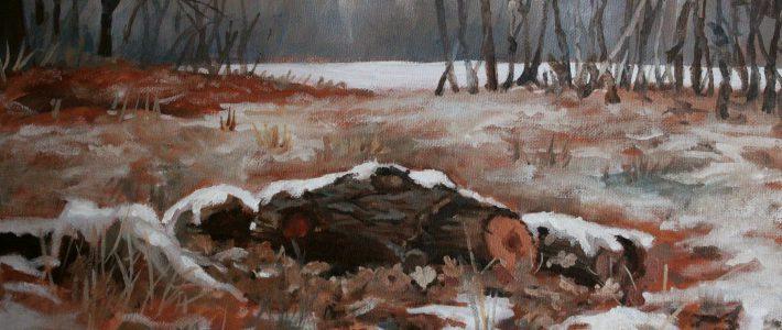 Snowy logs: original oil painting | Verschneite Stämme: Ölbild