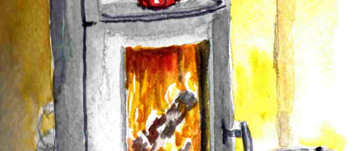 Our cosy fireplace | Unser gemütlicher Kamin
