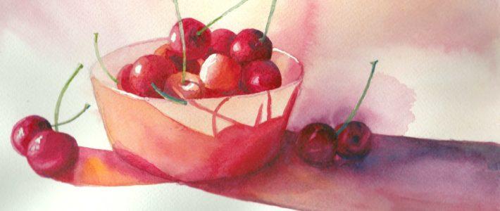 Rot in Rot mit Kirschen