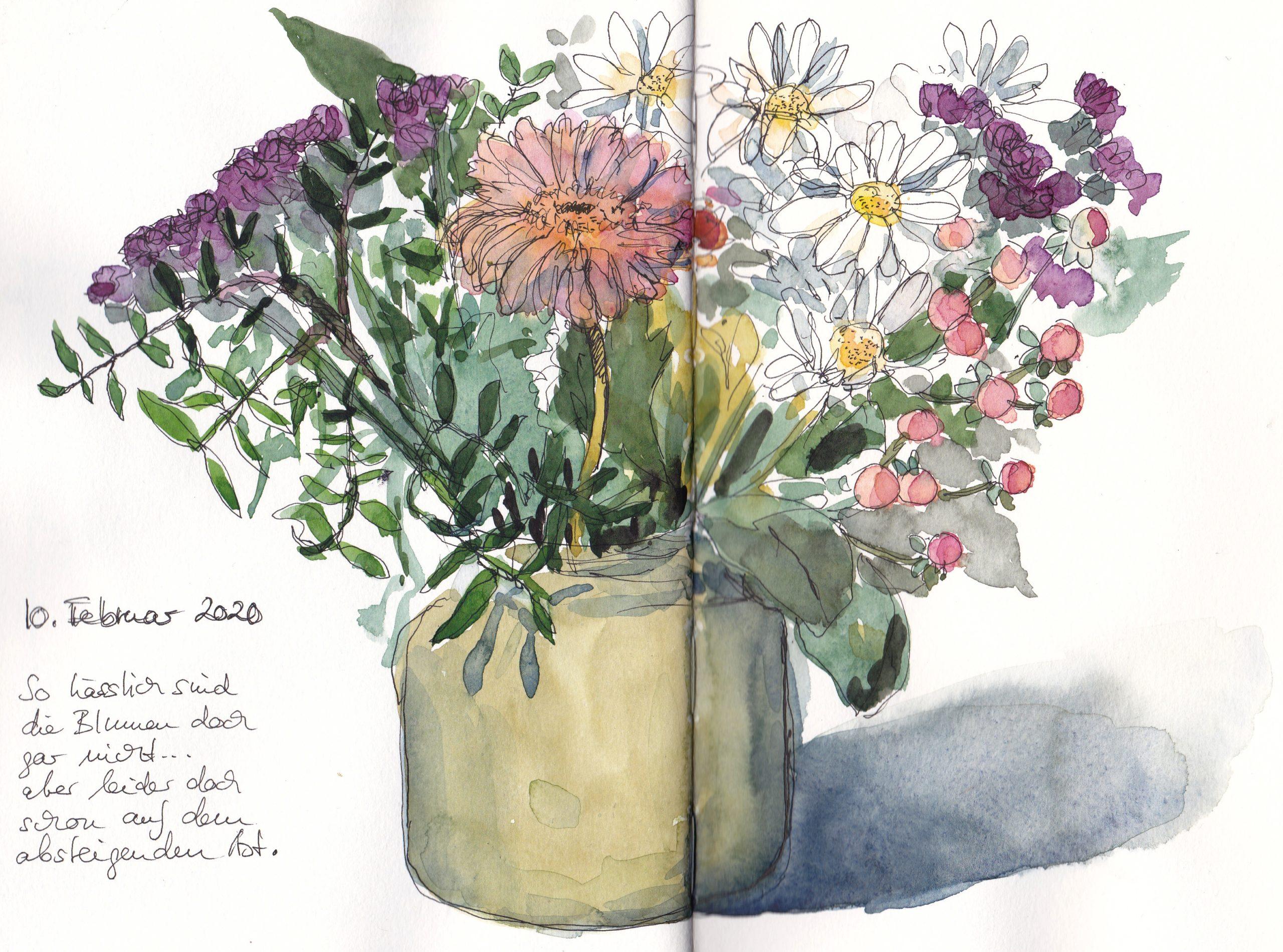 Eine paar Gedanken über meinen Umgang mit meinem kleinen Farbkasten und eine neue Blumenskizze.
